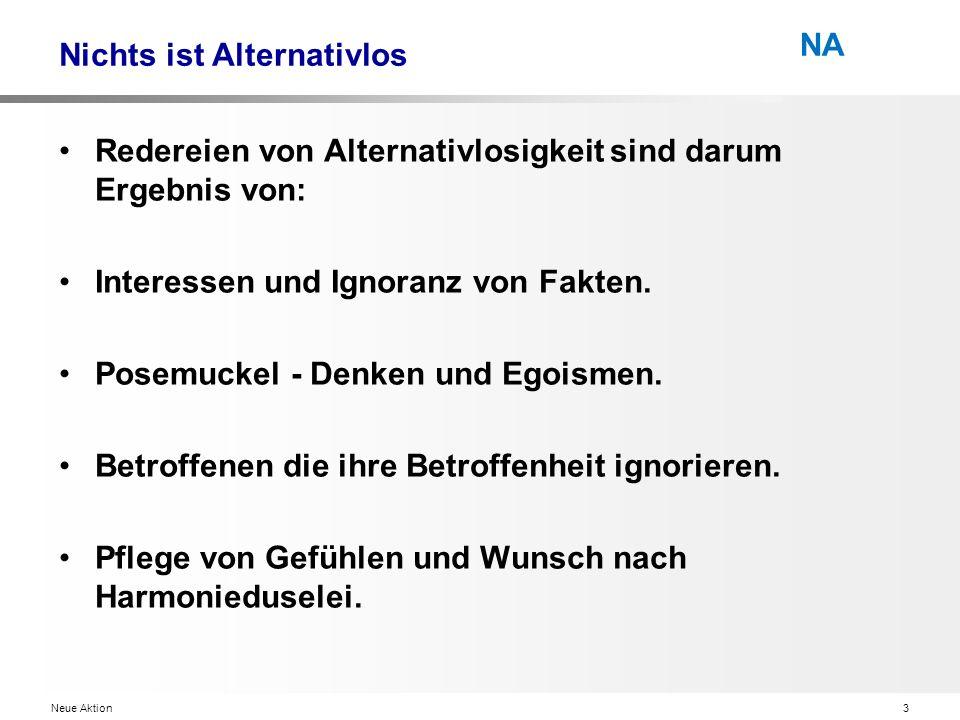 Neue Aktion3 NA Nichts ist Alternativlos Redereien von Alternativlosigkeit sind darum Ergebnis von: Interessen und Ignoranz von Fakten.