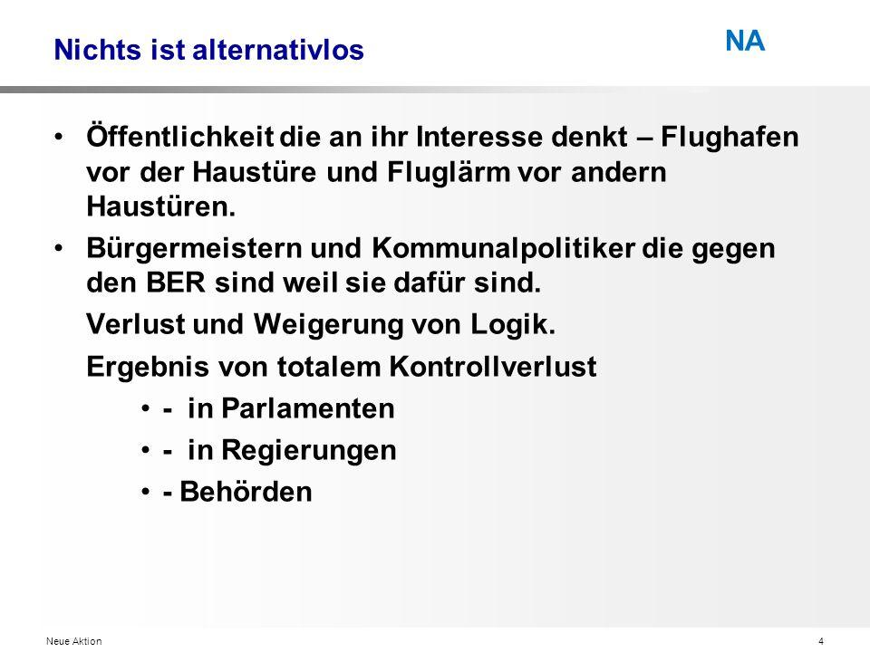 Neue Aktion4 NA Nichts ist alternativlos Öffentlichkeit die an ihr Interesse denkt – Flughafen vor der Haustüre und Fluglärm vor andern Haustüren.