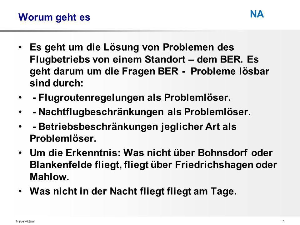 Neue Aktion7 NA Worum geht es Es geht um die Lösung von Problemen des Flugbetriebs von einem Standort – dem BER.