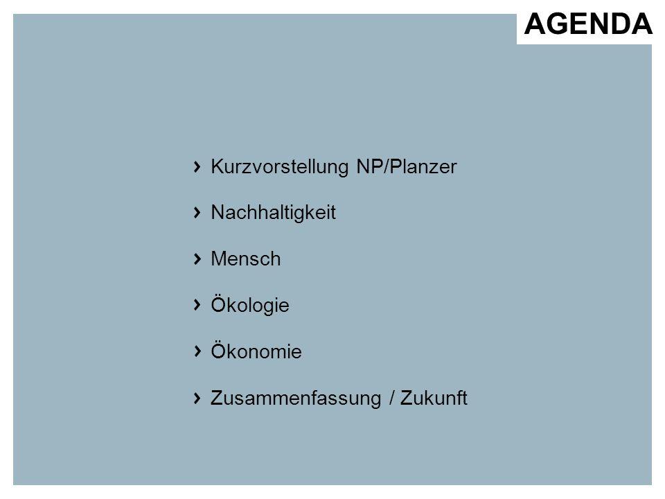 AGENDA Kurzvorstellung NP/Planzer Nachhaltigkeit Mensch Ökologie Ökonomie Zusammenfassung / Zukunft