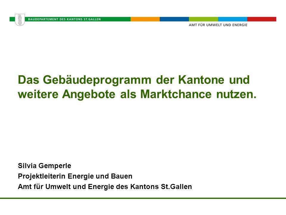 Amt für Umwelt und Energie Das Gebäudeprogramm der Kantone und weitere Angebote als Marktchance nutzen. Silvia Gemperle Projektleiterin Energie und Ba