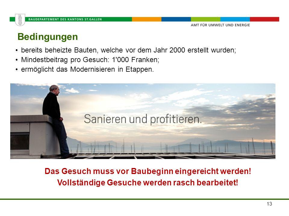 Amt für Umwelt und Energie Bedingungen 13 bereits beheizte Bauten, welche vor dem Jahr 2000 erstellt wurden; Mindestbeitrag pro Gesuch: 1'000 Franken;