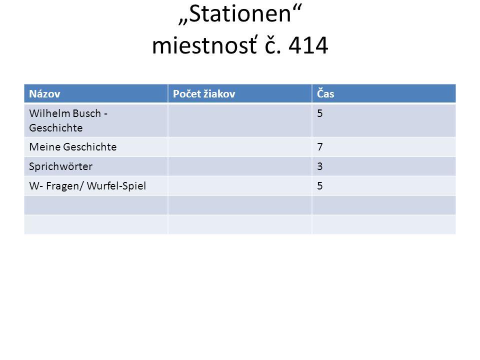 Stationen miestnosť č. 414 NázovPočet žiakovČas Wilhelm Busch - Geschichte 5 Meine Geschichte7 Sprichwörter3 W- Fragen/ Wurfel-Spiel5