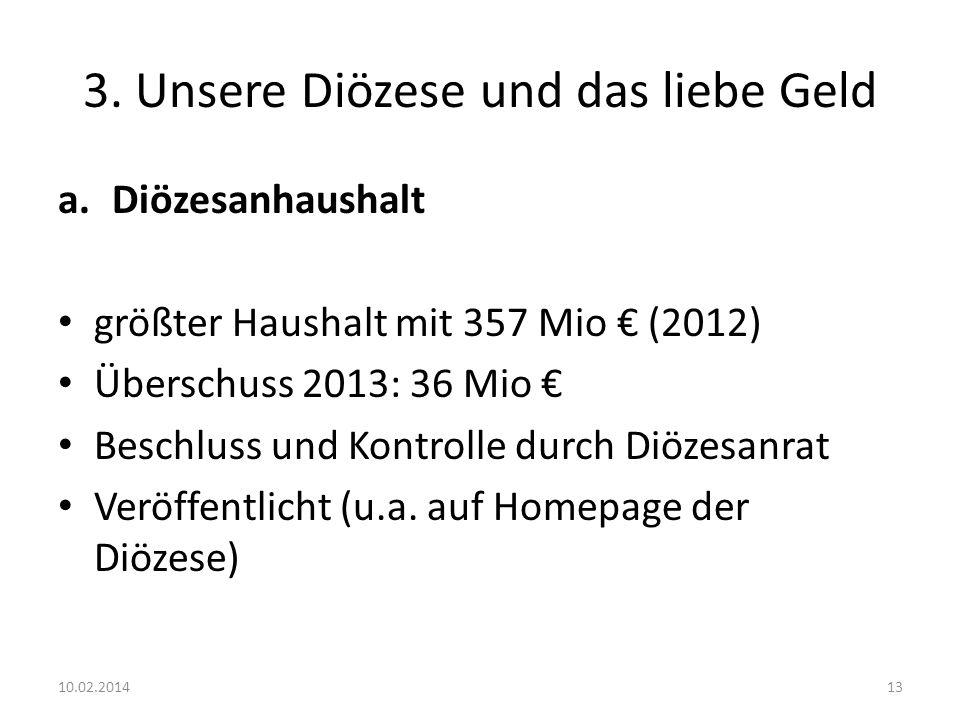 3. Unsere Diözese und das liebe Geld a.Diözesanhaushalt größter Haushalt mit 357 Mio (2012) Überschuss 2013: 36 Mio Beschluss und Kontrolle durch Diöz