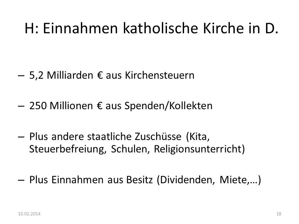 H: Einnahmen katholische Kirche in D. – 5,2 Milliarden aus Kirchensteuern – 250 Millionen aus Spenden/Kollekten – Plus andere staatliche Zuschüsse (Ki