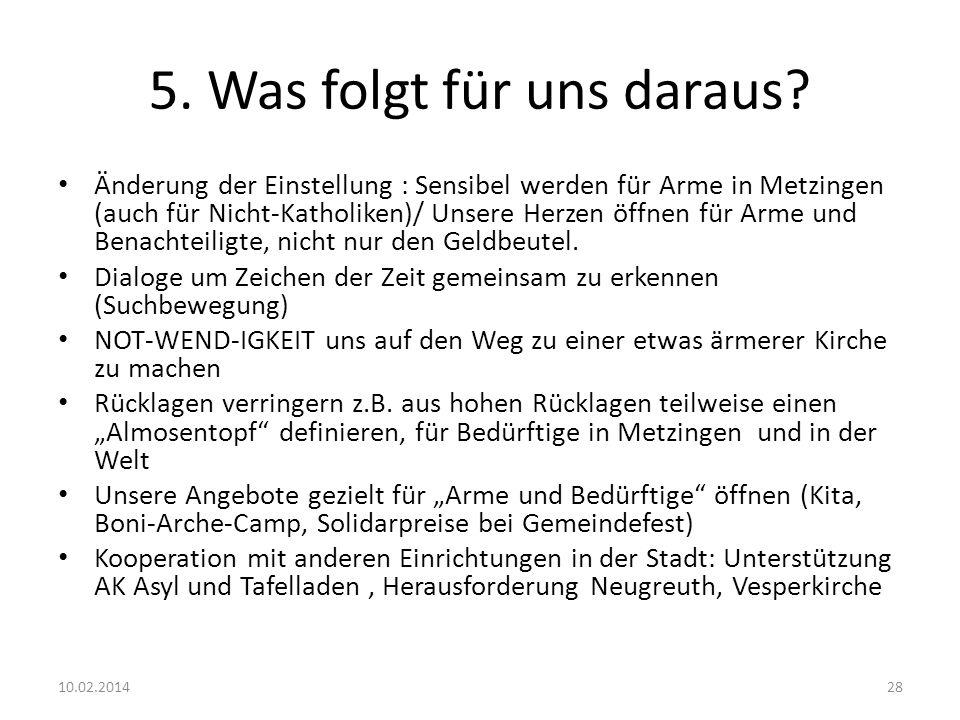 5. Was folgt für uns daraus? Änderung der Einstellung : Sensibel werden für Arme in Metzingen (auch für Nicht-Katholiken)/ Unsere Herzen öffnen für Ar