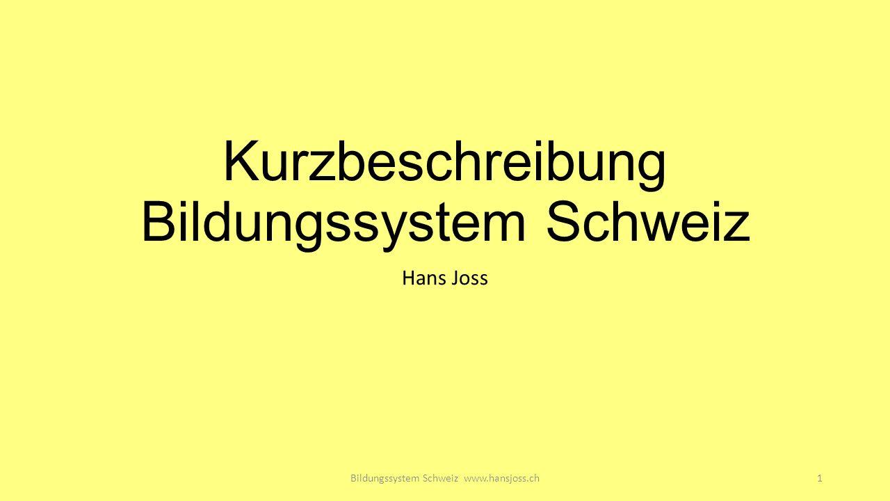 Kurzbeschreibung Bildungssystem Schweiz Hans Joss Bildungssystem Schweiz www.hansjoss.ch1