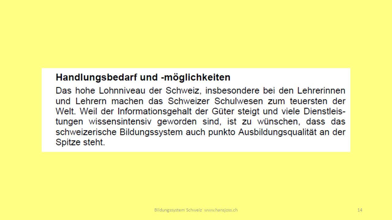 Bildungssystem Schweiz www.hansjoss.ch14