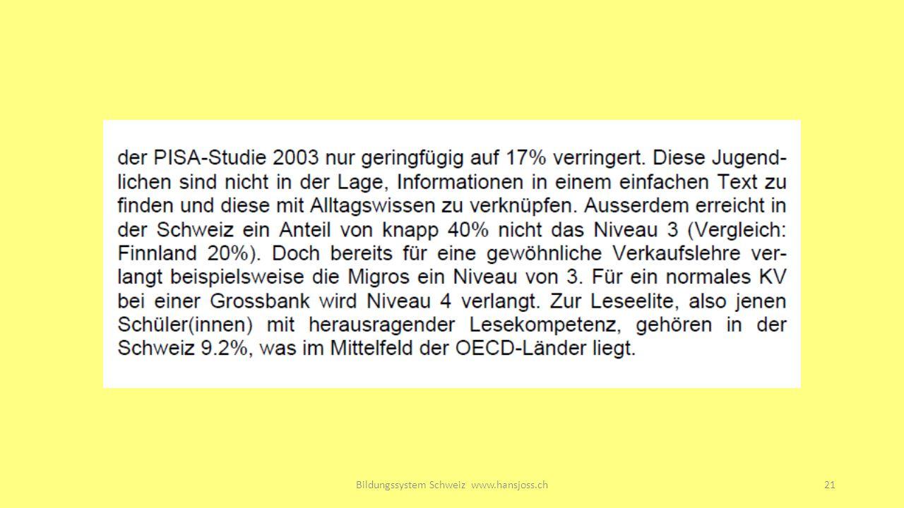 Bildungssystem Schweiz www.hansjoss.ch21