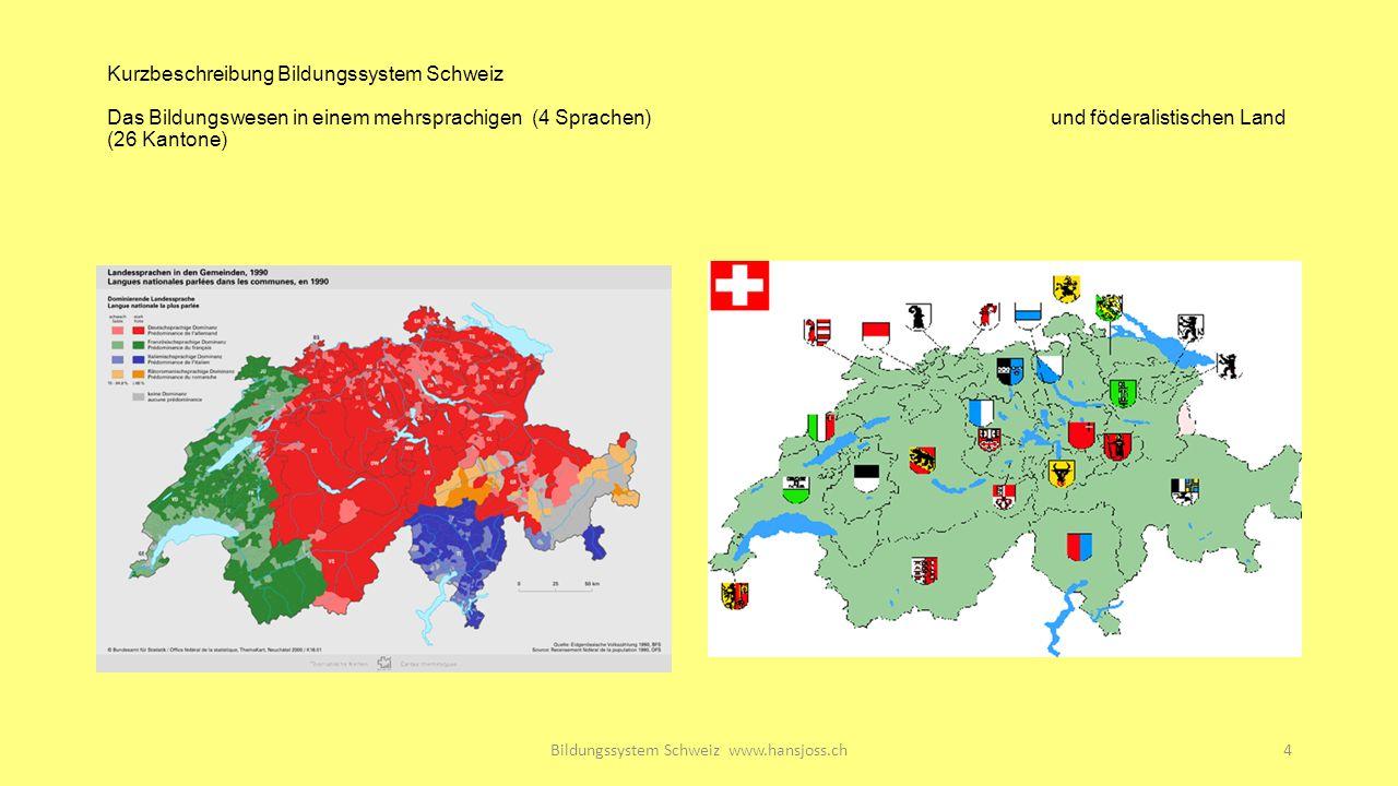 Kurzbeschreibung Bildungssystem Schweiz Das Bildungswesen in einem mehrsprachigen (4 Sprachen)und föderalistischen Land (26 Kantone) Bildungssystem Schweiz www.hansjoss.ch4