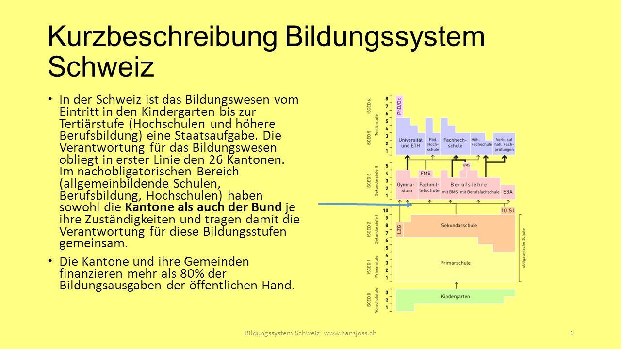 Kurzbeschreibung Bildungssystem Schweiz In der Schweiz ist das Bildungswesen vom Eintritt in den Kindergarten bis zur Tertiärstufe (Hochschulen und höhere Berufsbildung) eine Staatsaufgabe.