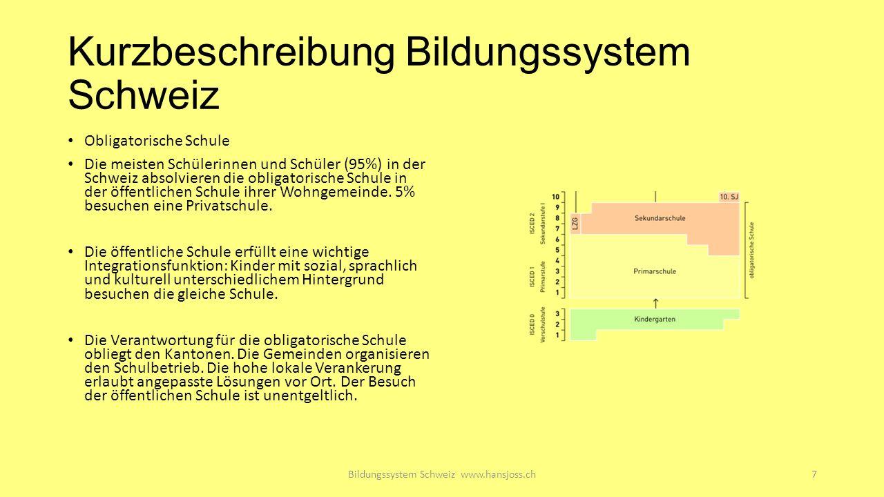 Kurzbeschreibung Bildungssystem Schweiz Obligatorische Schule Die meisten Schülerinnen und Schüler (95%) in der Schweiz absolvieren die obligatorische Schule in der öffentlichen Schule ihrer Wohngemeinde.