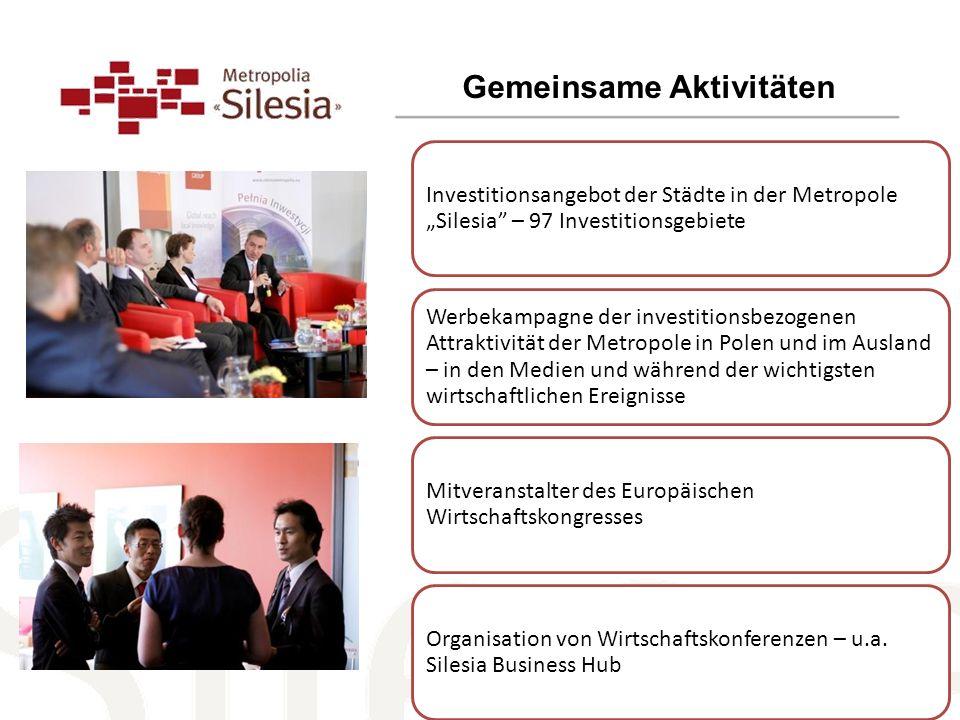 Gemeinsame Aktivitäten Investitionsangebot der Städte in der Metropole Silesia – 97 Investitionsgebiete Werbekampagne der investitionsbezogenen Attrak