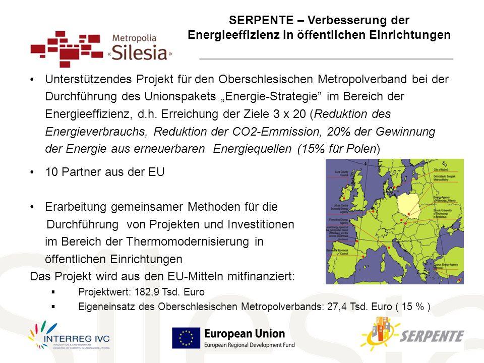 Unterstützendes Projekt für den Oberschlesischen Metropolverband bei der Durchführung des Unionspakets Energie-Strategie im Bereich der Energieeffizienz, d.h.