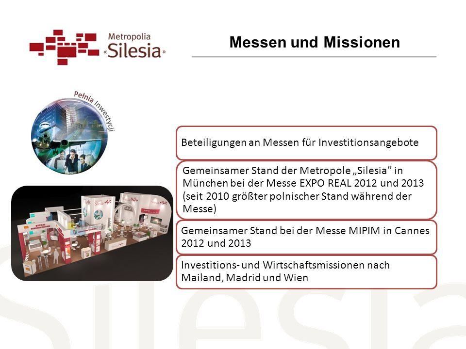 Messen und Missionen Beteiligungen an Messen für Investitionsangebote Gemeinsamer Stand der Metropole Silesia in München bei der Messe EXPO REAL 2012