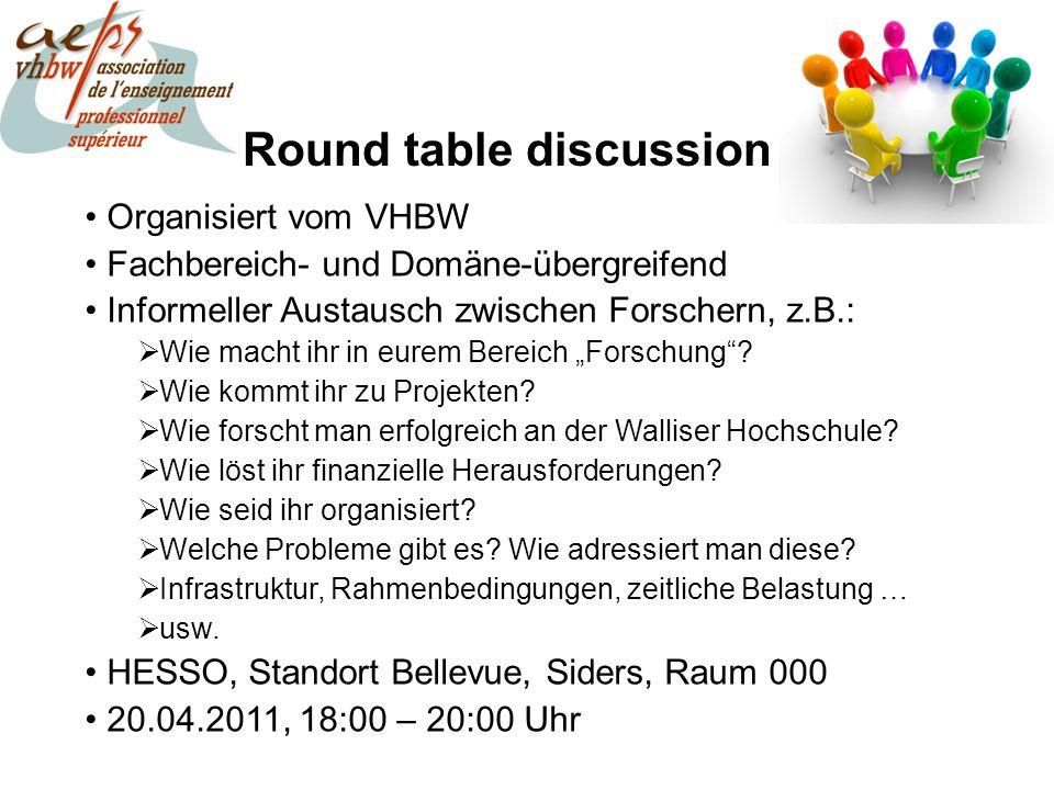 Round table discussion Organisiert vom VHBW Fachbereich- und Domäne-übergreifend Informeller Austausch zwischen Forschern, z.B.: Wie macht ihr in eurem Bereich Forschung.