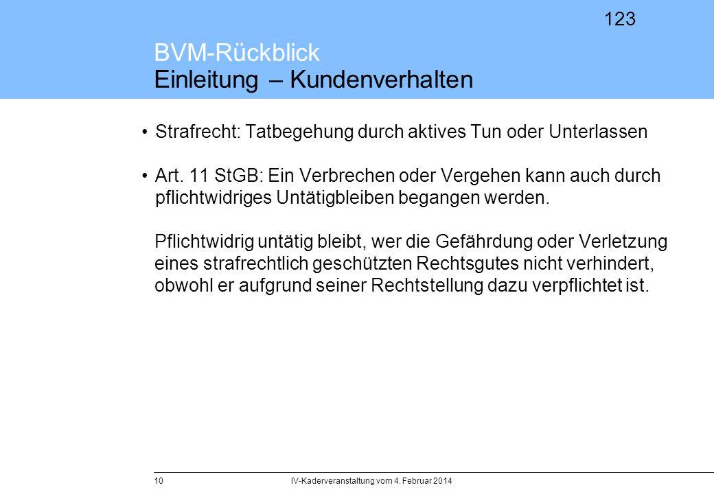 123 BVM-Rückblick Einleitung – Kundenverhalten Strafrecht: Tatbegehung durch aktives Tun oder Unterlassen Art. 11 StGB: Ein Verbrechen oder Vergehen k