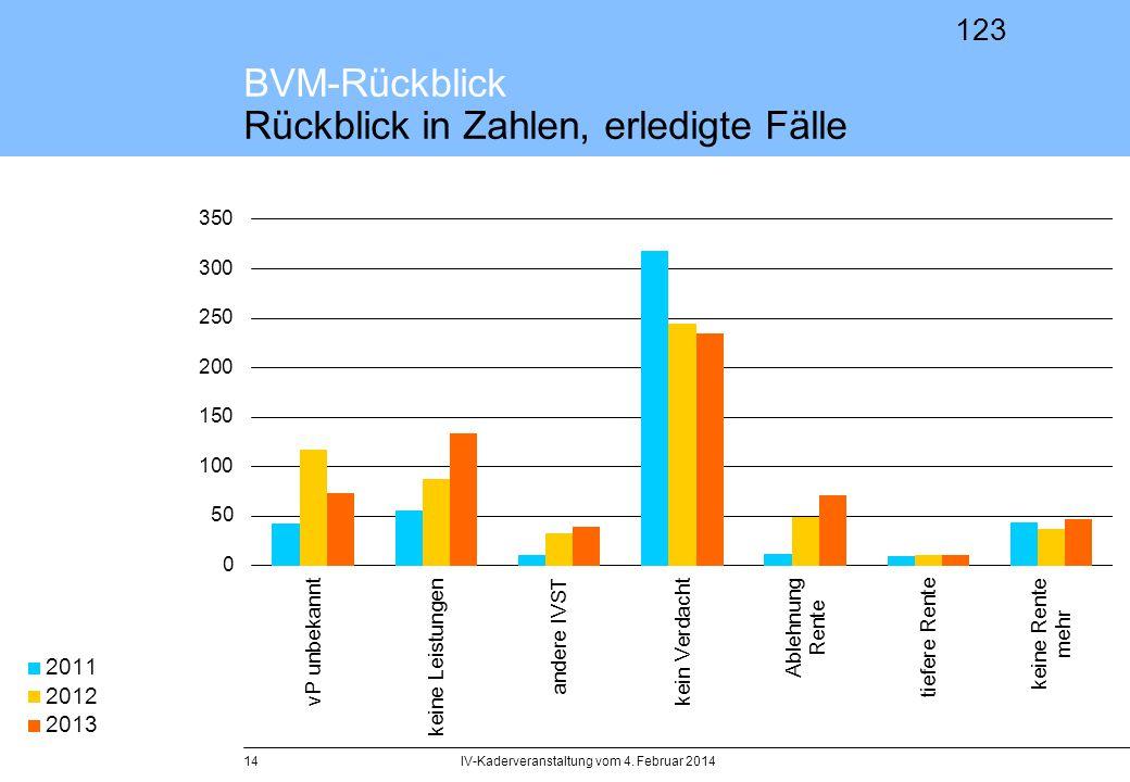 123 IV-Kaderveranstaltung vom 4. Februar 201415 BVM-Rückblick Zahlen + Fakten, Leistungswirksamkeit