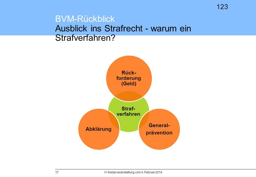 123 BVM-Rückblick Ausblick ins Strafrecht - warum ein Strafverfahren? IV-Kaderveranstaltung vom 4. Februar 201417 Straf- verfahren Rück- forderung (Ge