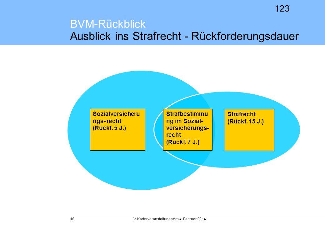 123 BVM-Rückblick Ausblick ins Strafrecht - Rückforderungsdauer IV-Kaderveranstaltung vom 4. Februar 201418 Strafbestimmu ng im Sozial- versicherungs-