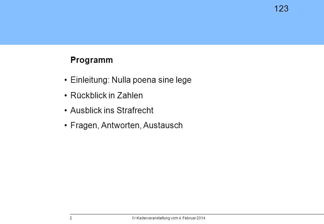 123 IV-Kaderveranstaltung vom 4. Februar 20142 Programm Einleitung: Nulla poena sine lege Rückblick in Zahlen Ausblick ins Strafrecht Fragen, Antworte
