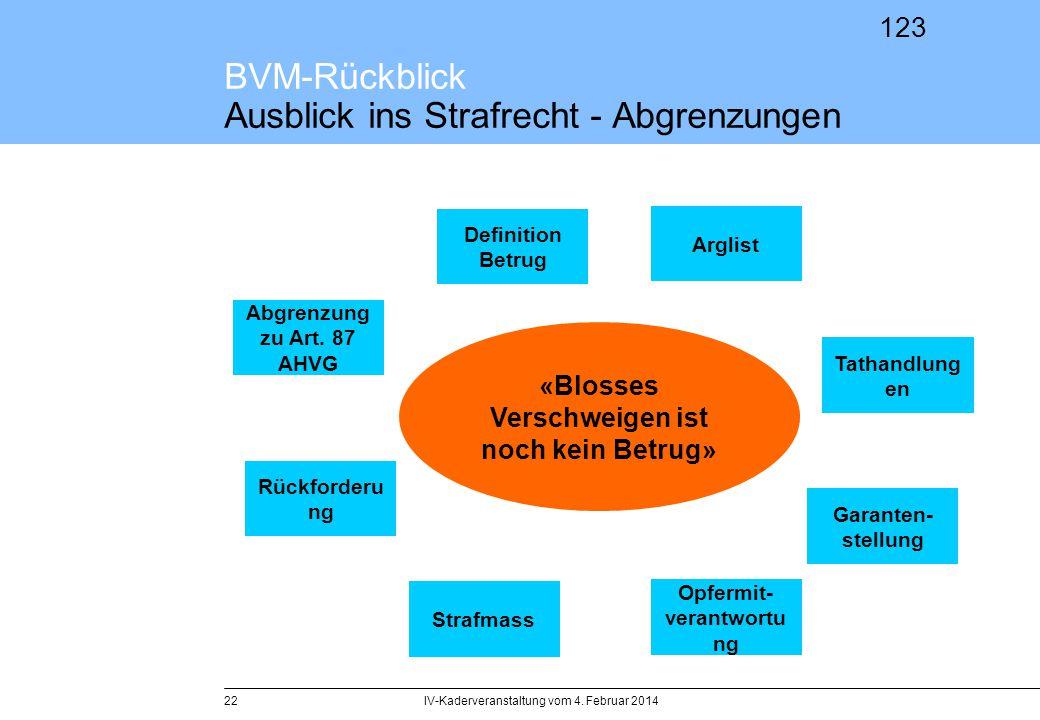 123 BVM-Rückblick Ausblick ins Strafrecht - Abgrenzungen IV-Kaderveranstaltung vom 4. Februar 201422 Definition Betrug Strafmass Tathandlung en Abgren