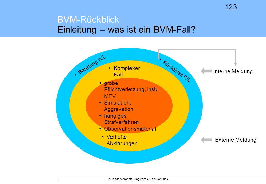 123 BVM-Rückblick Einleitung – was ist ein BVM-Fall? IV-Kaderveranstaltung vom 4. Februar 20145 grobe Pflichtverletzung, insb. MPV Simulation, Aggrava
