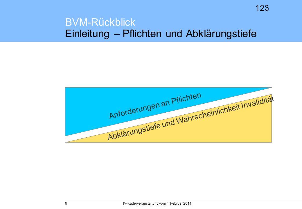 123 BVM-Rückblick Einleitung – Pflichten und Abklärungstiefe IV-Kaderveranstaltung vom 4. Februar 20148 Abklärungstiefe und Wahrscheinlichkeit Invalid