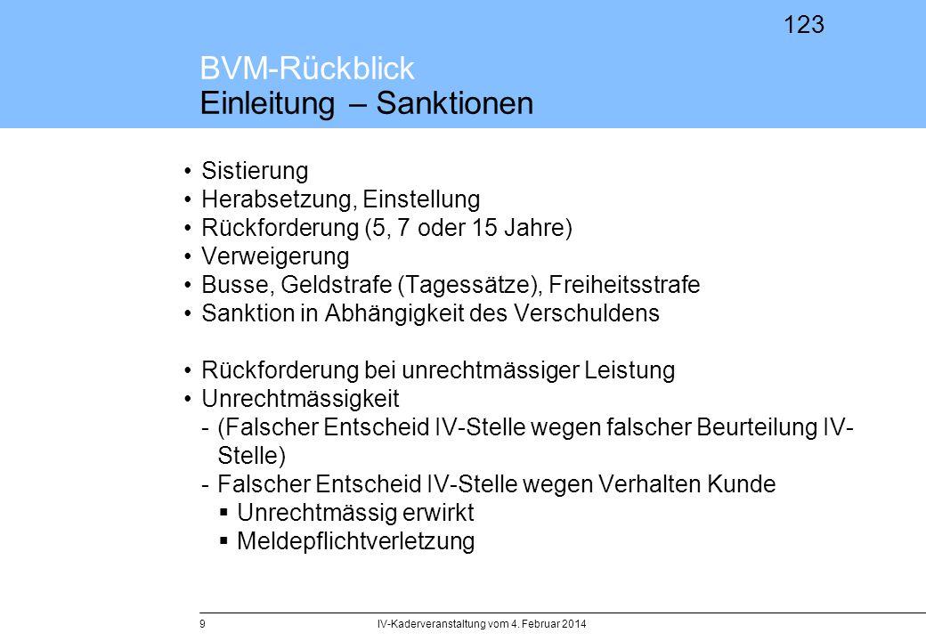 123 BVM-Rückblick Einleitung – Sanktionen Sistierung Herabsetzung, Einstellung Rückforderung (5, 7 oder 15 Jahre) Verweigerung Busse, Geldstrafe (Tage