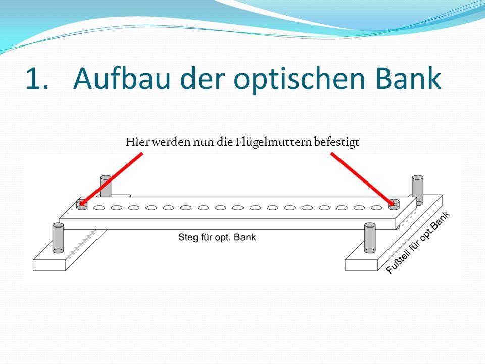 2.Befestigung der Module Benötigt: 1xFertig aufgebaute optische Bank 1xLastmodul 1xEinzelnes Solarmodul 1xLampenmodul