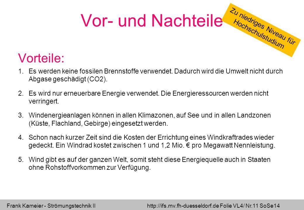 Frank Kameier - Strömungstechnik II http://ifs.mv.fh-duesseldorf.de Folie VL4/ Nr.11 SoSe14 Vor- und Nachteile Vorteile: 1.Es werden keine fossilen Br