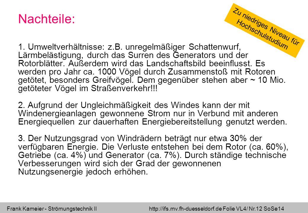 Frank Kameier - Strömungstechnik II http://ifs.mv.fh-duesseldorf.de Folie VL4/ Nr.12 SoSe14 Nachteile: 1. Umweltverhältnisse: z.B. unregelmäßiger Scha