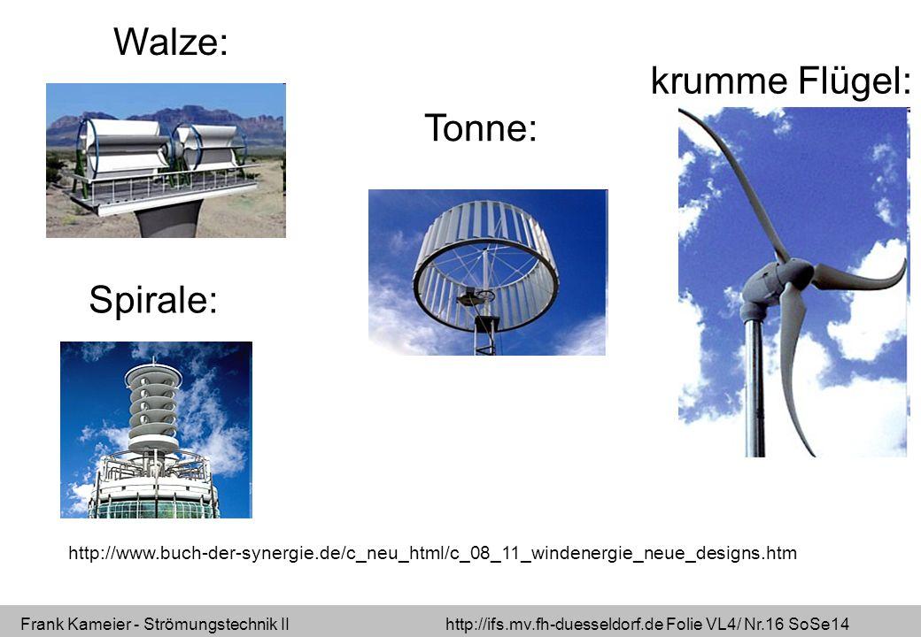 Frank Kameier - Strömungstechnik II http://ifs.mv.fh-duesseldorf.de Folie VL4/ Nr.16 SoSe14 http://www.buch-der-synergie.de/c_neu_html/c_08_11_windene