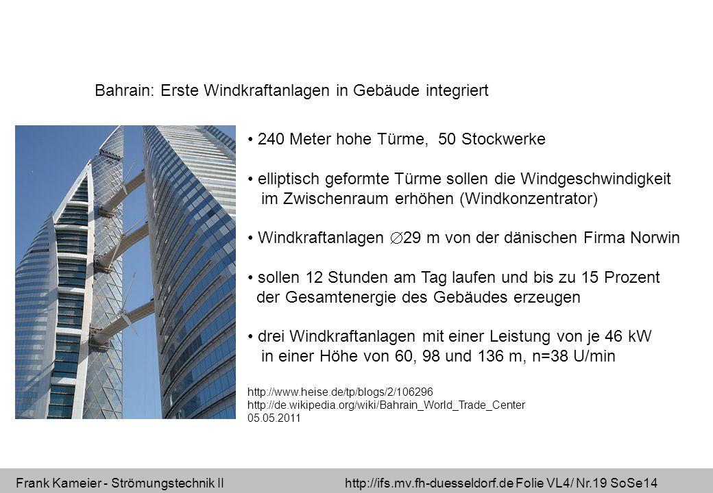 Frank Kameier - Strömungstechnik II http://ifs.mv.fh-duesseldorf.de Folie VL4/ Nr.19 SoSe14 Bahrain: Erste Windkraftanlagen in Gebäude integriert 240