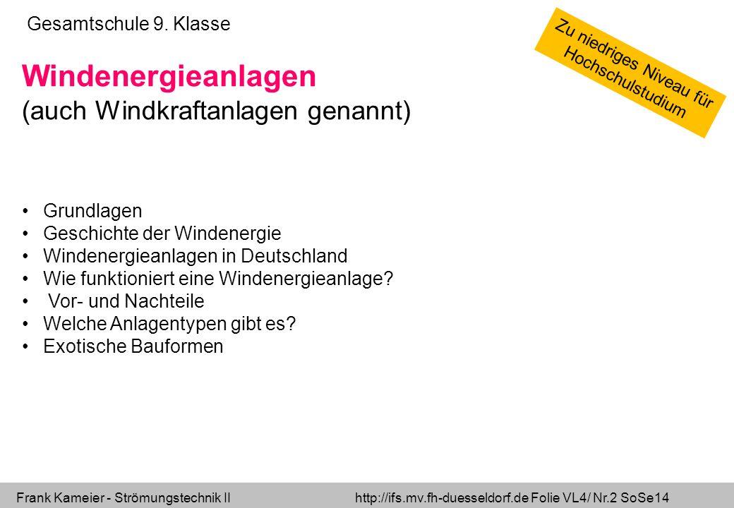 Frank Kameier - Strömungstechnik II http://ifs.mv.fh-duesseldorf.de Folie VL4/ Nr.2 SoSe14 Gesamtschule 9. Klasse Windenergieanlagen (auch Windkraftan