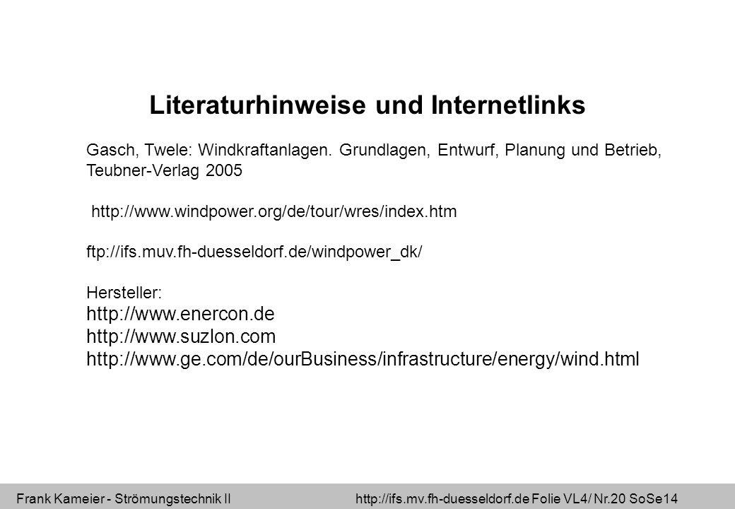 Frank Kameier - Strömungstechnik II http://ifs.mv.fh-duesseldorf.de Folie VL4/ Nr.20 SoSe14 Literaturhinweise und Internetlinks Gasch, Twele: Windkraf