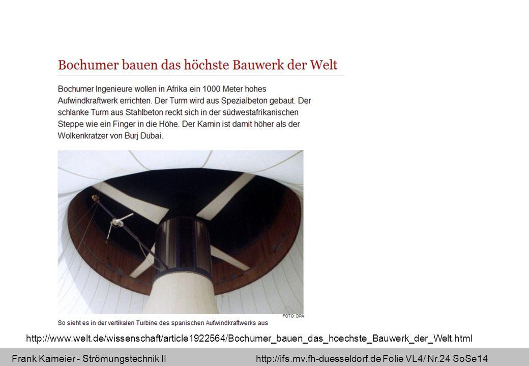 Frank Kameier - Strömungstechnik II http://ifs.mv.fh-duesseldorf.de Folie VL4/ Nr.24 SoSe14 http://www.welt.de/wissenschaft/article1922564/Bochumer_ba