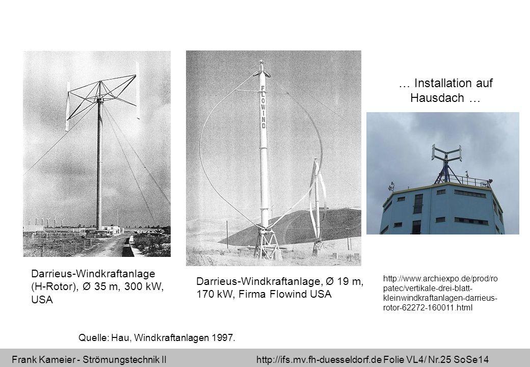 Frank Kameier - Strömungstechnik II http://ifs.mv.fh-duesseldorf.de Folie VL4/ Nr.25 SoSe14 Darrieus-Windkraftanlage, Ø 19 m, 170 kW, Firma Flowind US