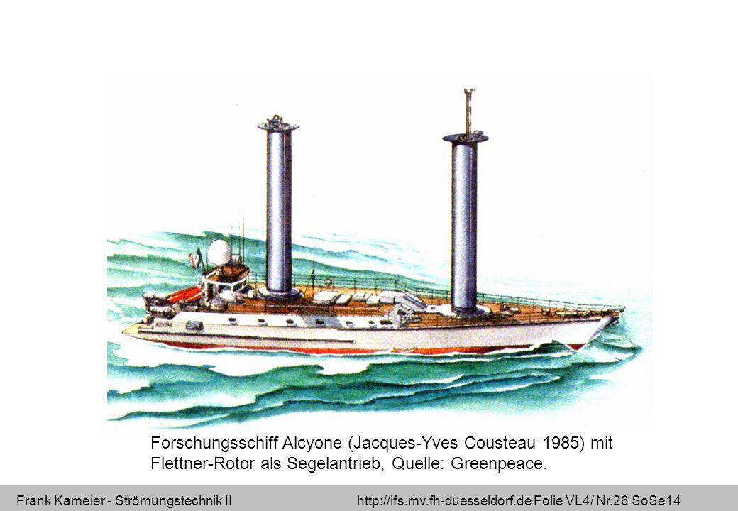 Frank Kameier - Strömungstechnik II http://ifs.mv.fh-duesseldorf.de Folie VL4/ Nr.26 SoSe14 Forschungsschiff Alcyone (Jacques-Yves Cousteau 1985) mit