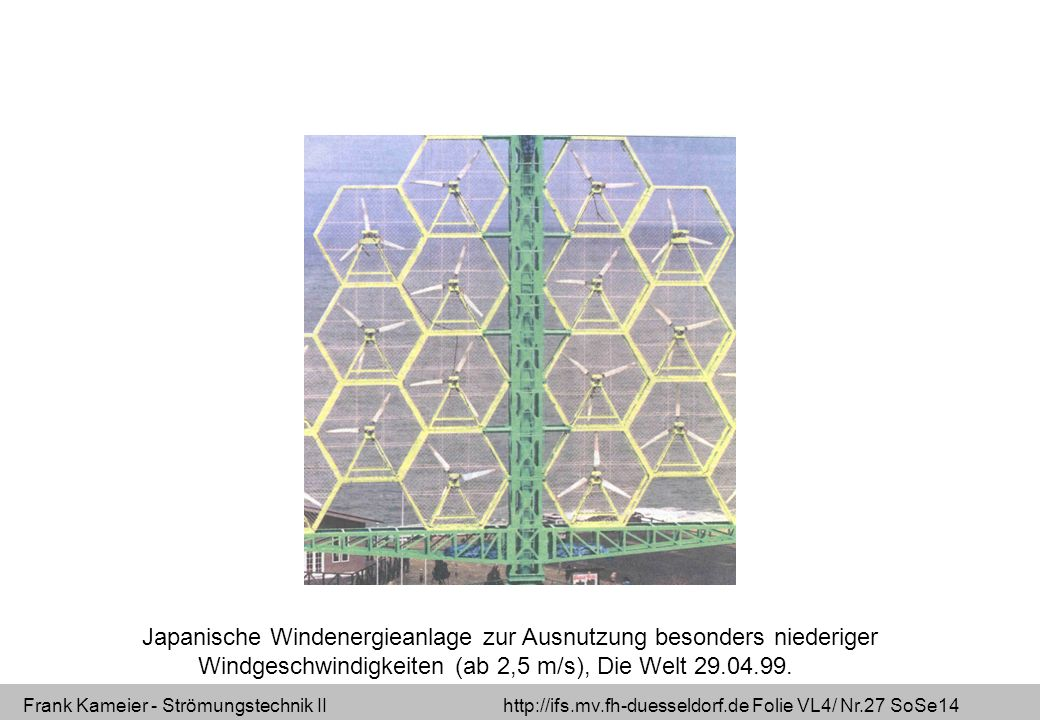 Frank Kameier - Strömungstechnik II http://ifs.mv.fh-duesseldorf.de Folie VL4/ Nr.27 SoSe14 Japanische Windenergieanlage zur Ausnutzung besonders nied