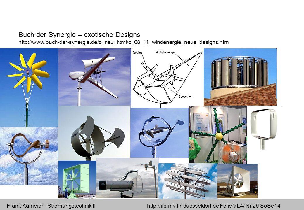 Frank Kameier - Strömungstechnik II http://ifs.mv.fh-duesseldorf.de Folie VL4/ Nr.29 SoSe14 Buch der Synergie – exotische Designs http://www.buch-der-