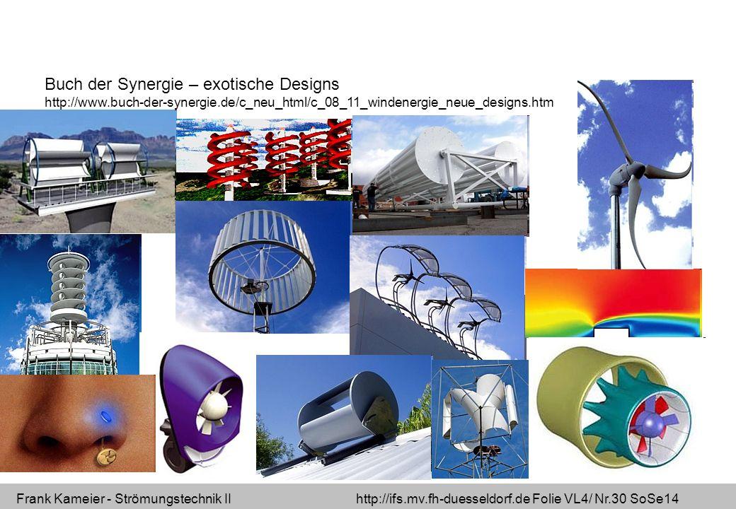 Frank Kameier - Strömungstechnik II http://ifs.mv.fh-duesseldorf.de Folie VL4/ Nr.30 SoSe14 Buch der Synergie – exotische Designs http://www.buch-der-