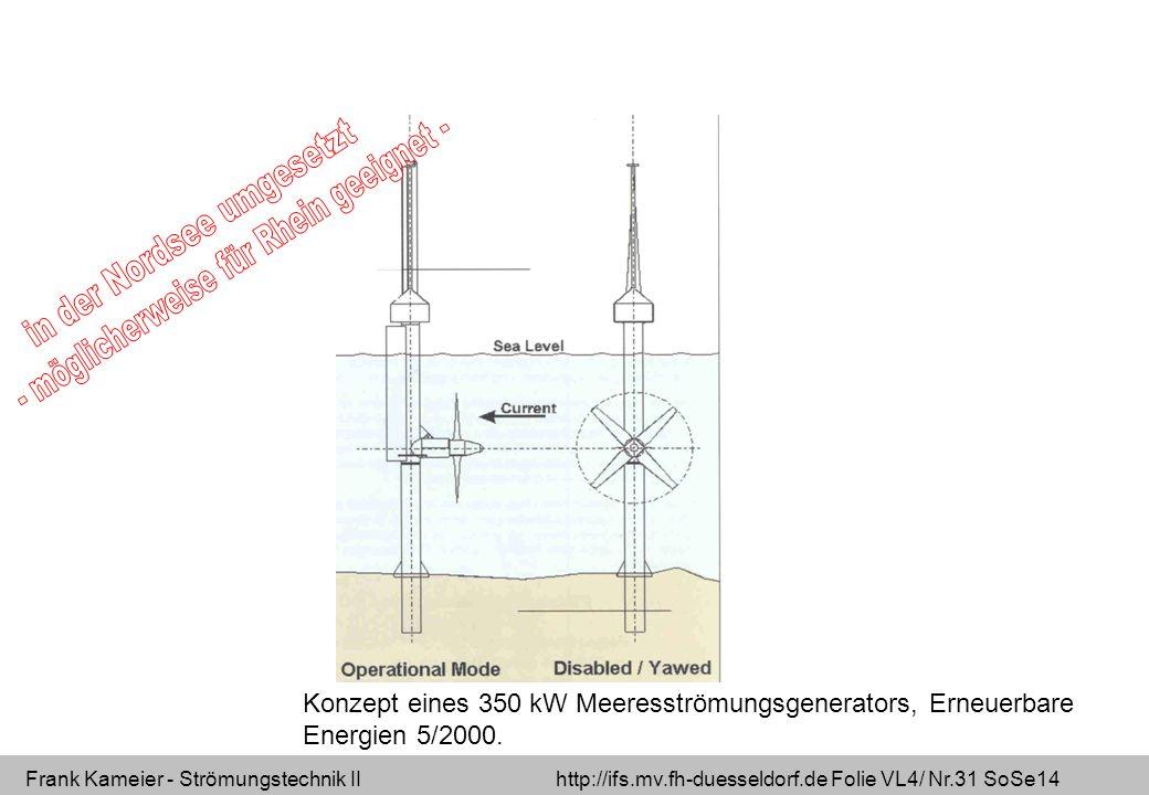 Frank Kameier - Strömungstechnik II http://ifs.mv.fh-duesseldorf.de Folie VL4/ Nr.31 SoSe14 Konzept eines 350 kW Meeresströmungsgenerators, Erneuerbar