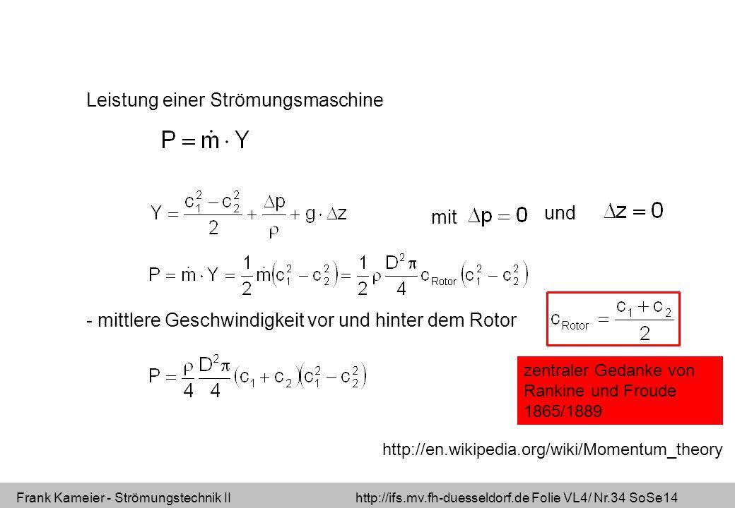 Frank Kameier - Strömungstechnik II http://ifs.mv.fh-duesseldorf.de Folie VL4/ Nr.34 SoSe14 Leistung einer Strömungsmaschine mit und - mittlere Geschw