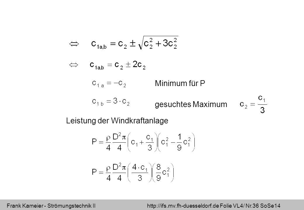 Frank Kameier - Strömungstechnik II http://ifs.mv.fh-duesseldorf.de Folie VL4/ Nr.36 SoSe14 Minimum für P gesuchtes Maximum Leistung der Windkraftanla