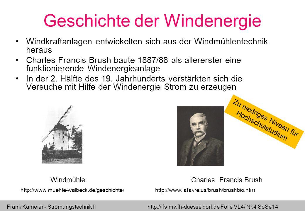 Frank Kameier - Strömungstechnik II http://ifs.mv.fh-duesseldorf.de Folie VL4/ Nr.4 SoSe14 Geschichte der Windenergie Windkraftanlagen entwickelten si