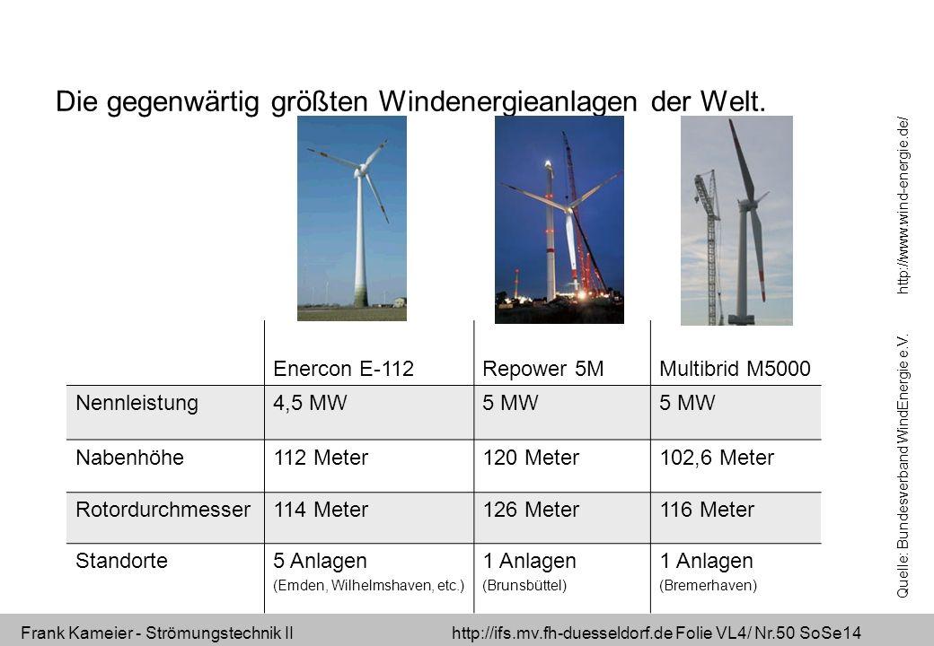 Frank Kameier - Strömungstechnik II http://ifs.mv.fh-duesseldorf.de Folie VL4/ Nr.50 SoSe14 Die gegenwärtig größten Windenergieanlagen der Welt. Enerc