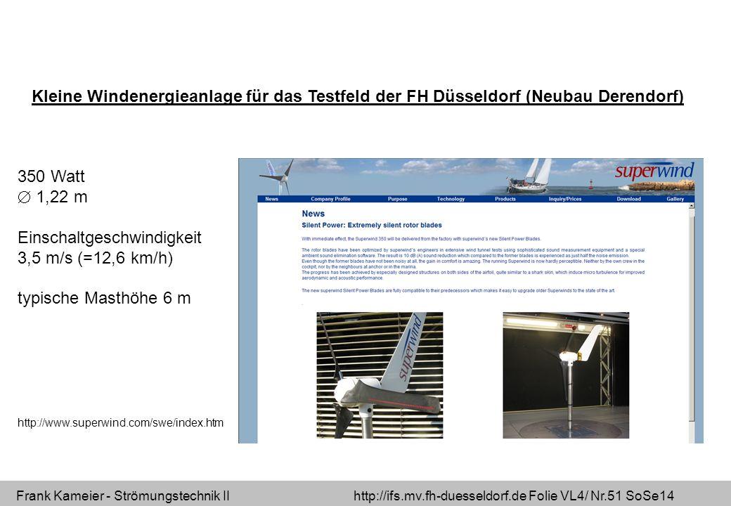 Frank Kameier - Strömungstechnik II http://ifs.mv.fh-duesseldorf.de Folie VL4/ Nr.51 SoSe14 Kleine Windenergieanlage für das Testfeld der FH Düsseldor