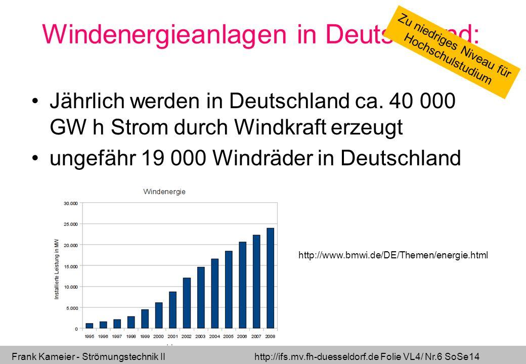 Frank Kameier - Strömungstechnik II http://ifs.mv.fh-duesseldorf.de Folie VL4/ Nr.37 SoSe14 Die Leistung der Windkraftanlage steigt mit der dritten Potenz.