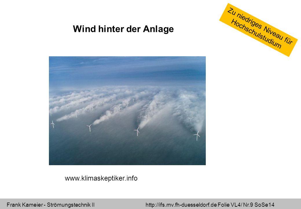 Frank Kameier - Strömungstechnik II http://ifs.mv.fh-duesseldorf.de Folie VL4/ Nr.10 SoSe14 Wind vor der Anlage und hinter der Anlage Der Wind wird abgebremst und in Spiralen umgelenkt.